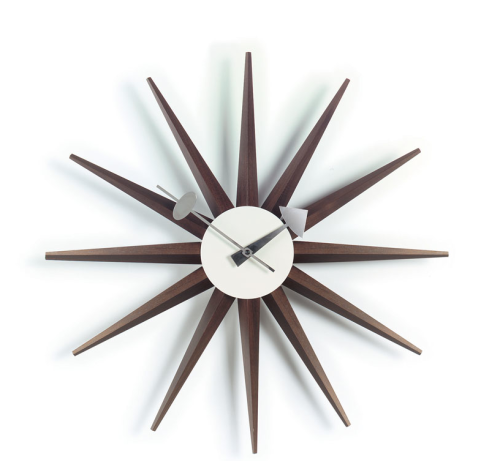 George Nelson Sunburst Clock in Walnut  Nova68