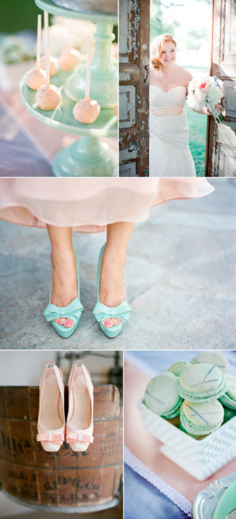 allyborrowedblue:  I am totally in love with this peachy-pink and tiffany-blue color combo on this real wedding!  I actually have been considering throwing a splash of this blue color into my weddings color pallet.