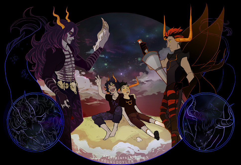 "acertainpavane:  Gamzee and Tavros, Grand Highblood and Summoner ""You seem strangely familiar…"""