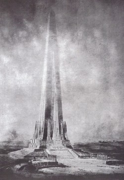 Projected Beacon of Progress Tower, Chicago, Illinois Drawing from around 1900