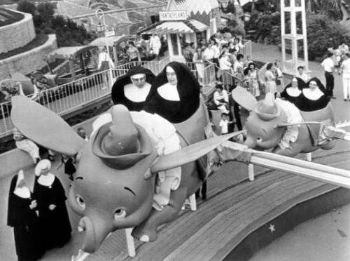 Nuns on the Dumbo ride, Disneyland, 1962