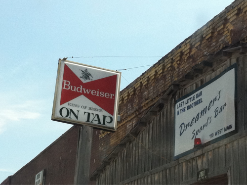 the only bar in this small town.  budweiser. dreamers.