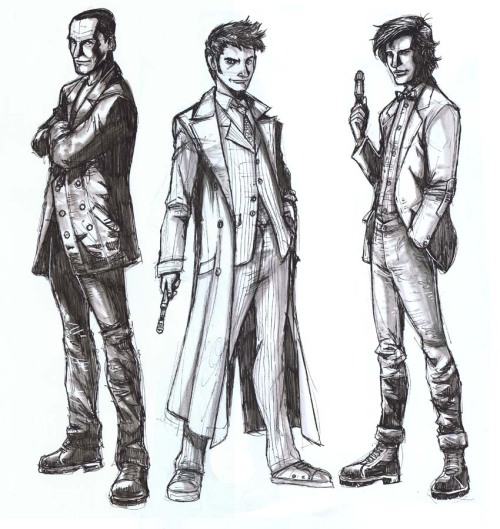 indoctorination:  The Doctor in triplicate. Sketch by marcus011.