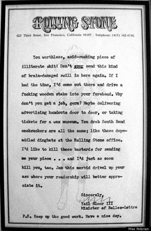 nathanlevinson:  Hunter S. Thompson's Amazing Letter In Response To A Fan's Submission (LETTER) [UPDATE] via @HuffingtonPost