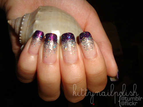 kittynailpolish:  Purple Glitter Gradient - done ages ago so my nails were a LOT longer, and I didn't know how to take pictures of my nails.
