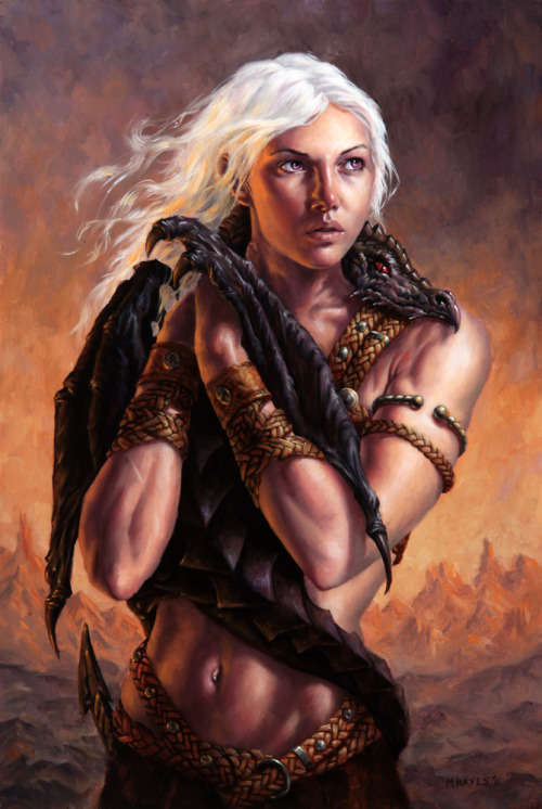 schwarzwind:  Daenerys Targaryen/ Mother of Dragons by Michael C Hayes I love this piece of art.  Pretty.