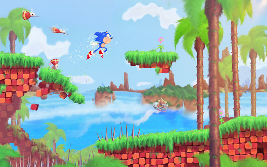"""Sonic Boom"" by Orioto. The artist has occupied himself with 3D conversions of previous art recently, but he took the time to make this original digital painting inspired by Sonic CD. Seeing how cool Sonic could look just makes the games that much more of a punch in the gut. Speaking of Sonic games, there are some new Mushroom Hill Zone screenshots here of one that doesn't look too bad: the 3DS version of Sonic Generations. Preorder: Sonic Generations  See also: More Sonic posts"