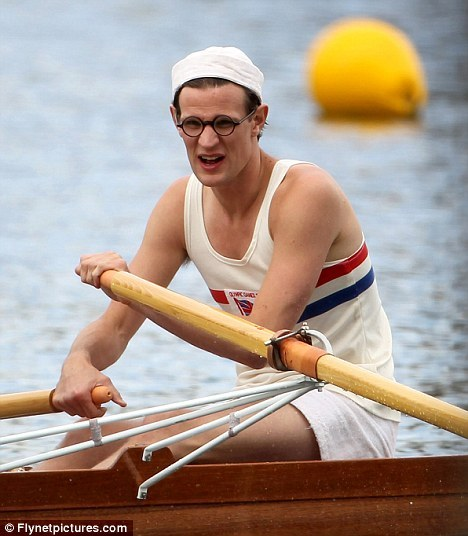 Matt Smith swaps the Tardis for the Thames as he turns Olympic rower for new BBC drama Matt Smith has stepped out of his  time-travelling comfort zone for an entirely different vehicle to his  Tardis for a new drama for the BBC. The actor was snapped on the River Thames this weekend in a white vest and shorts sitting in a racing boat. Matt, 28, is playing Bert Bushnell, one  half of the rowing team that won the gold medal in the 1948 Olympics in  London for the double scull. The drama tells the story of their  relationship and how the two men from different backgrounds overcame  their class differences to claim victory on the water.