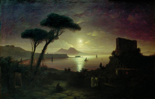 missfolly:  Ivan Aivazovsky - The Bay of Naples at Moonlit Night, 1842