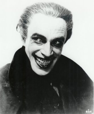 "blogono:  The original Joker. Conrad Veidt, a film noir actor during German Expressionistic period. He plays Gwynplaine who offends Henry II and is punished by having a Dr. fix his face in a permanent smile.  ""to laugh forever at his fool of a father.""   So watching this film when I find it."