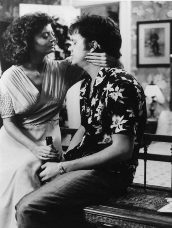 "Susan Sarandon and Tim Robbins. (on set on ""Bull Durham"")"