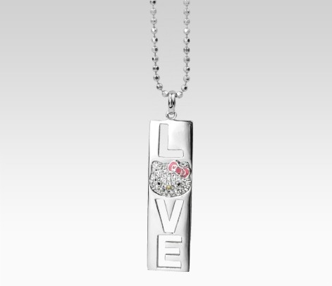 Hello Kitty White Sapphire LOVE Pendant Necklace - $195