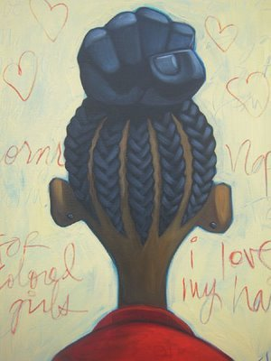 blackgirlphresh:  strong hair by c'babi bayoc.  acrylic on canvas. i am always blown by his work. c'babi's website is here and he tweets… bayoc and his wife reine own a organic, and very vegan friendly bakeshop and art cafe in st. louis called sweet art. more info about that project here. they are a beautiful pair.