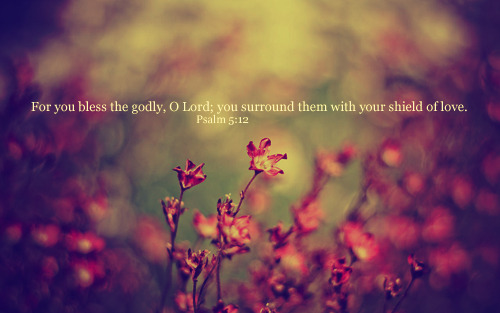 """For you bless the godly, O Lord; you surround them with your shield of love."""