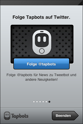 Increase following: Tapbots (@tapbots) collect followers in the setup stage for their iPhone twitter client Tweetbot.