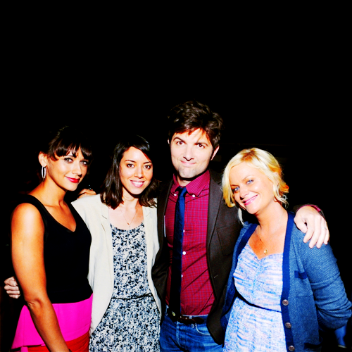 "Rashida Jones, Aubrey Plaza, Adam Scott and Amy Poehler at the ""Our Idiot Brother"" premiere in Los Angeles - August 16, 2011"