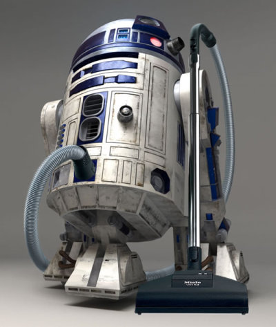 R2D2 vacum cleaner vision. Not sure if it would be easy to lug-around your lounge-dining, but boy it would be fun to try!