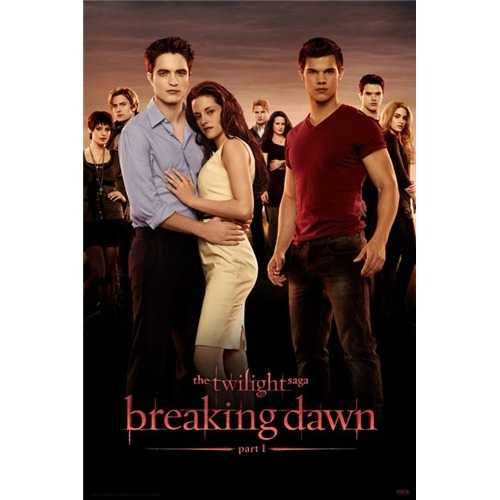 This poster is FUGLY and cheap looking.  Bella has big hair.  Edward's is RED.  And what the hell size box is Taylor standing on this time? That's ridiculous.