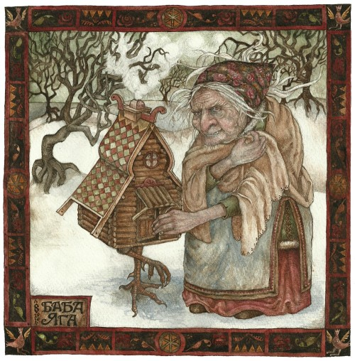 thehermitage:  Baba Yaga by Rima Staines watercolour 2010 prints available here