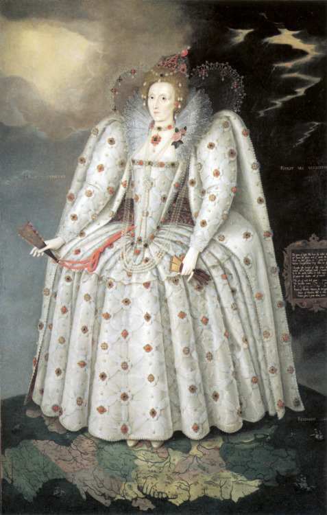 "Elizabeth I, the ""Ditchley Portrait,"" by Marcus Gheeraerts the Younger, c.1592, in the National Portrait Gallery, London.  I've always loved this painting.  I love the iconography of her standing astride a map of the British Isles; I love the improbably anatomy implied by her elaborate clothing (how COULD her arms be attached to her torso in that thing?); I love the intensity and command in her eyes.  A great portrait. Elizabeth herself was not, however, a fan."