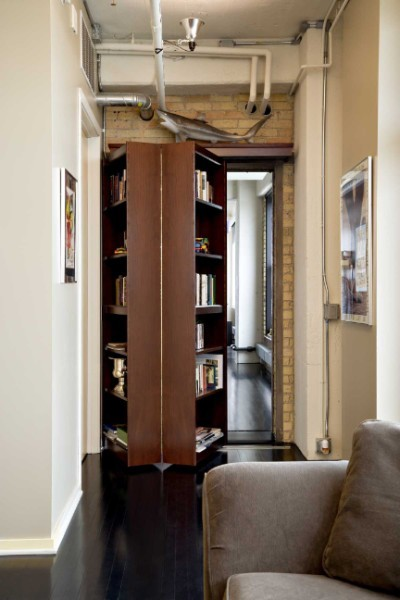 Folding secret bookcase door via: petchmo: