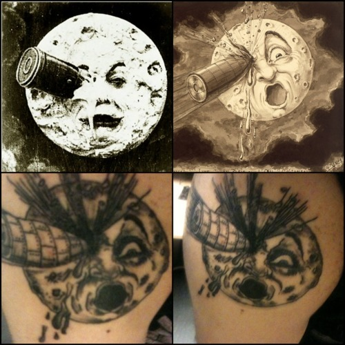 This is my Georges Méliès tattoo. Méliès was a French filmmaker from 1896 to 1913. He was ahead of his time and revolutionized filmmaking. He created editing techniques such as stop action, dissolve, and multiple exposure. This moon is from one of his greatest films Le Voyage dans la Lune (A Trip to the Moon) released in 1902 (his 400th film). This film was one of the first to be distributed worldwide and was also one of the first to be duplicated (especially by Edison Films). Because of this Méliès was never really made money off of this film and died broke and forgotten. He is and always will be my favorite filmmaker of the silent era. Work done by Sir Wook. http://SirWook.tumblr.com/