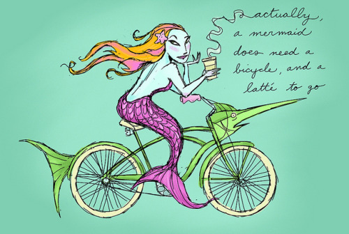 joethemagicpartygenie:  A mermaid needs a bicycle… by tina kugler on Flickr.  She totally does.