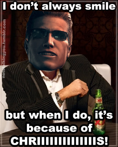 notstalkingyou:  The thought of Chris dying pleases Wesker.
