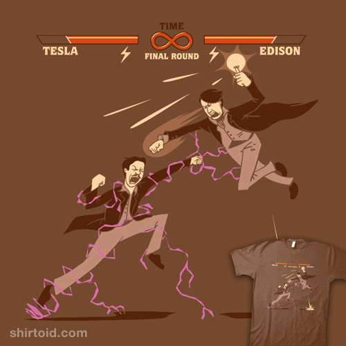 shirtoid:  Tesla vs. Edison available at ThinkGeek  Ooooh que hermosa polera!!! *-*