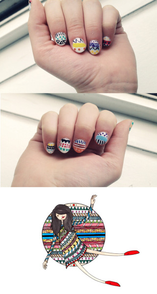I did @_parti's (parti.tumblr.com) nails, inspired by one of her drawings.