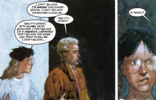 "randomfives:  Panel from ""Books of Magic"" issue 1 featuring Tim Hunter and Constatine, the Hellblazer. Art by John Bolton. For the uninitiated, Timothy Hunter (pictured): created 1990, Harry Potter: created 1997. More info at: http://en.wikipedia.org/wiki/Timothy_Hunter  ."