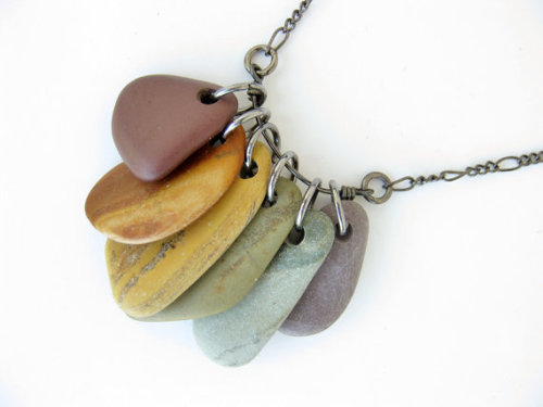 authenticarts:  Natural Rainbow River Rocks necklace :D (that I made!)