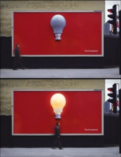 The Economist: LightbulbThis very clever ad hints at the Economists' ability to give its readers an idea. That they get you thinking.