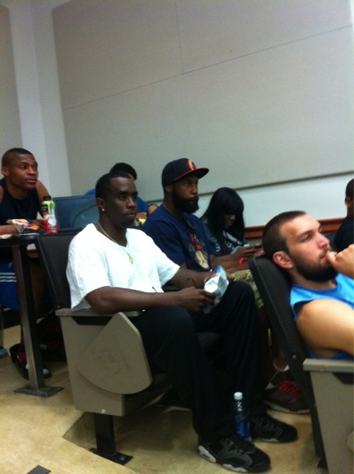 nbaoffseason:  Back To School Special. Russell Westbrook, Baron Davis, Kevin Love and Puff Daddy (yes, Puff Daddy), are all attending the same class at UCLA.  I wonder which one of them will pay someone else to write their paper first.  @Suga_Shane via Kevin Love