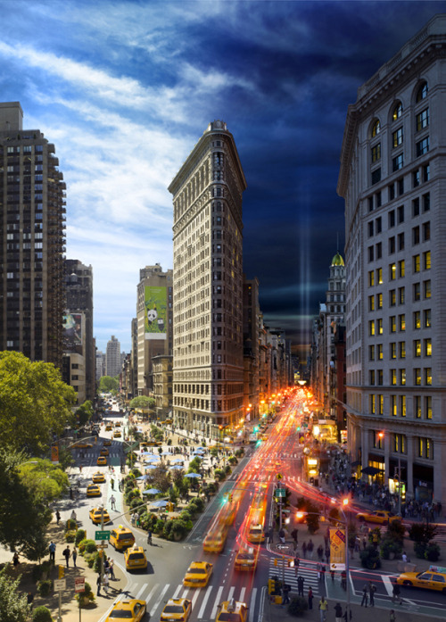 "thedailywhat:  Photo Series of the Day: This day-night composite shot of NYC's iconic Flatiron Building is part of Stephen Wilkes' Day Into Night photo series, on display at Chelsea's Clamp Art Gallery from September 8th through October 29th.  Wilkes photographs a scene ""for a minimum of ten hours, from the same perspective, capturing a fluid visual narrative of day into night within a single frame.""  [flavorwire.]"