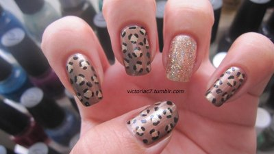 Leopard print Colors used: Claire's - 14 Karats Jordana - Black Essence - Gold Rush Essence - Just In Case Nabi - Gold Round Glitter