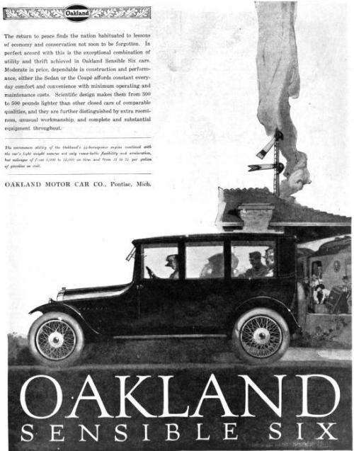 [image: a black and white advertisement for an Oakland Sensible Six motor car from 1919]