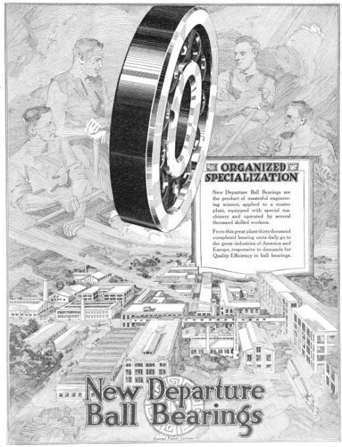 [image: an ad for ball bearings showing a modern-and-progressive-as-of-1919 town with a big metal wheel thingy full of ball bearings. But the cool bit is the sky, because the clouds are workmen, some of them shirtless, all rendered in a style that I don't really know how to describe except as crosshatching without the 'cross' part.]