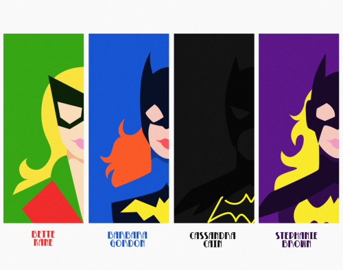 Minimalist Batgirls? Hell to the yes. Cassie's is the best. lolcilc:  Because of the huge response to those minimalist Batgirls, I'm considering making prints! Here's an idea of what they'd look like. Leave a message in my ask if you'd be interested!