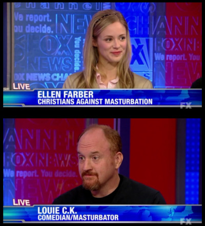What passes for news and debate on our mainstream networks, circa August 2011, USA. Update: Sorry about that. Itchy trigger finger. This is actually from Louis CK's show. Thanks to mlesblog and youngdankenstein for quickly pointing that out. Clip can be seen here. Egg… meet face.