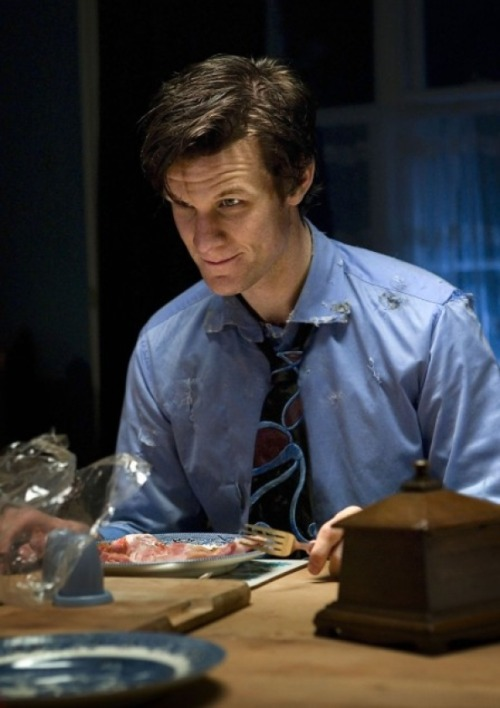 "Steven Moffat on Matt Smith as The Doctor:   ""I think one of the glories of Doctor Who is that it's an extremely funny show. One of the first things we wanted to do when we chose a new Doctor, was make sure he was funny. It's just a tremendous benefit that he happened to be a bit ugly!"""