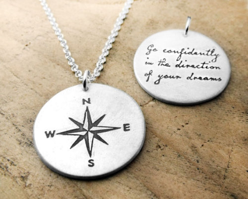 busfullofpeace:  (via Compass necklace Go confidently in the by lulubugjewelry on Etsy)  contemplating a compass tattoo.  shhhhh.