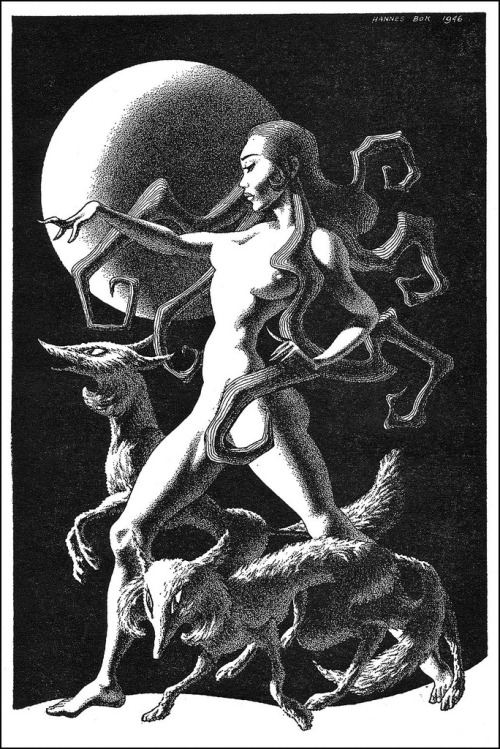 """(via MONSTER BRAINS: Hannes Bok)  """"Hannes Bok, pseudonym for Wayne Woodard (1914-1964), was an American artist, as well as an amateur astrologer and writer of fantasy fiction and poetry. He painted nearly 150 covers for various science fiction, fantasy, and detective fiction magazines, as well as contributing hundreds of black and white interior illustrations. Bok's work graced the pages of calendars and early fanzines, as well as dust jackets from specialty book publishers like Arkham House, Shasta, and Fantasy Press. His paintings achieved a luminous quality through the use of an arduous glazing process, which was learned from his mentor, Maxfield Parrish. He was the first artist to win a Hugo Award."""" - quote from Centipede Press"""