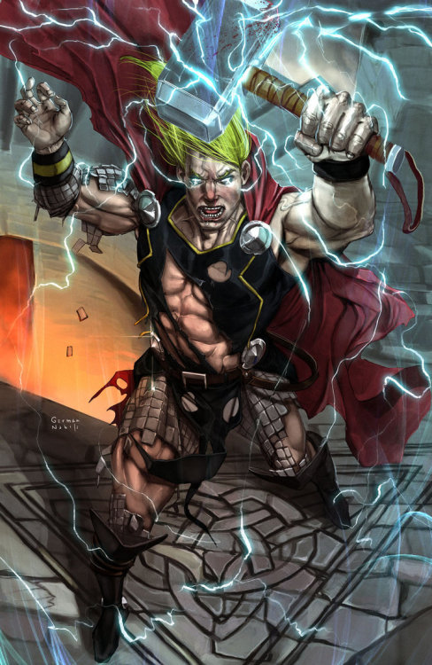 justintr:  THOR - by German Nobile deviantART | Facebook The God of Thunder is ready to do some real damage in this awesome illustration by artist German Nobile.