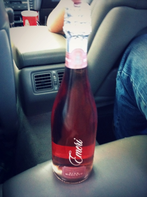 Pink moscato with the boys. Lol