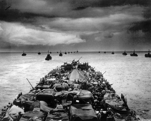 Vast columns of American LCI's (Landing Craft, infantry) packed to the brim advancing towards New Guinea to take part in the Invasion of Cape Sansapor. July, 1944.