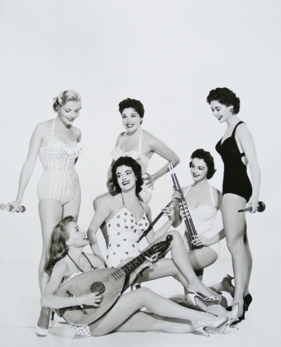 "vintagegal:  Bunny Cooper with Ann Brendon, Ann Staunton, Alicia Ibanez, Fay Morley and Barbara Darrow. 1955 (publicity shot for ""Diane"")"