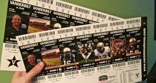whatiseenashville submitted  Show 'em if you got 'em 2 Vandy season tickets for $230 Best deal in the SEC  Gotta love lookin at all those pretty tickets at one huh? But he is right… it's that time of year again… show em if ya got em!