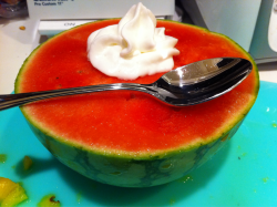 This was my dessert tonight. 1/2 of a small seedless Watermelon. That's a lot of food, my friends, and it's super tasty and healthy! I don't even know if I'll be able to eat the whole thing. At 46 cals/cup, watermelon is the ultimate guilt free dessert! Not to mention, it's super fun to eat! Like a huge bowl of sorbet! Fun fact: If you sprinkle a little salt on it, you'll find it actually tastes even sweeter!