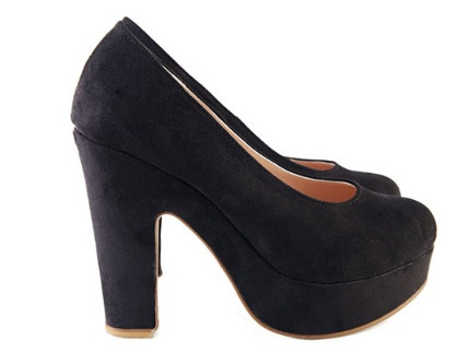 Chin up and carry on Black P1,550  Heel height: 12cm Platform height: 3cm Color: black, apricot Size: 35 to 39 Sole material: complex bottom Upper material: suede  View sizing guide here Order now